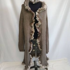 Chico's Ruffle Faux Fur Open Cardigan NWOT